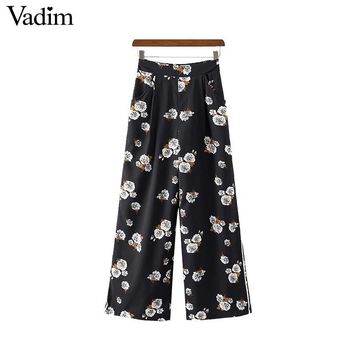 Women vintage floral wide leg pants elastic waist pockets ladies casual full length trousers