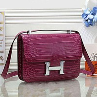 Hermès Women Fashion Leather Satchel Crossbody Shoulder Bag