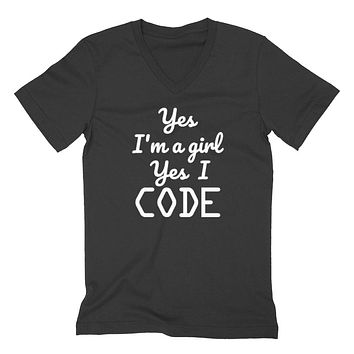 Yes I'm a girl Yes I code funny graduation outfit for her graphic   V Neck T Shirt