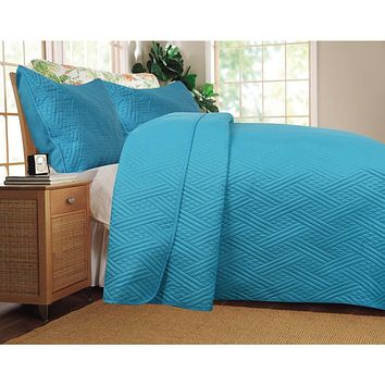 Solid Turquoise Teal Blue Thin & Lightweight Reversible Quilted Coverlet Bedspread Set