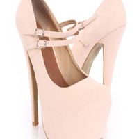 Pink Platform Maryjane Heels Faux Leather