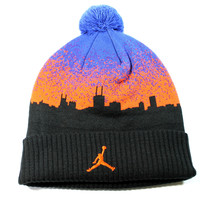 Jordan Men's Air Jordan XX9 Pom Knit Black/Blue Beanie Hat One Size