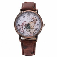 B-live Unisex Roman Style World Map Leather Wrist Watch Brown