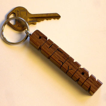 Name Keychain - Walnut Wood - Any Name Carved and Shipped in 3 Days