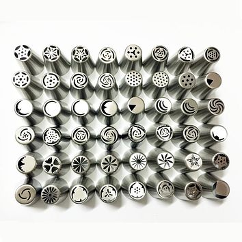 48 Pieces / Set Russian Stainless Steel Icing Piping Nozzles Tips Pastry Cake Decorating Decoration Tools for the Kitchen Baking