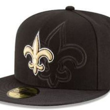 New Orleans Saints Hat Fitted Men's 59FIFTY Official Sideline Black New Era
