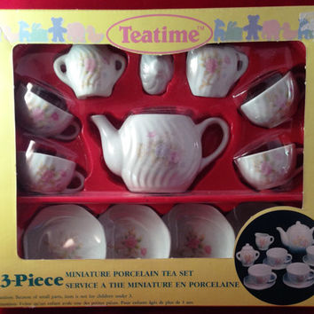 Miniature Porcelain Tea Set by Teatime 13 Piece Childs Toy in Original Box