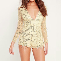 Long Sleeves/ Gold/ Yellow Romper