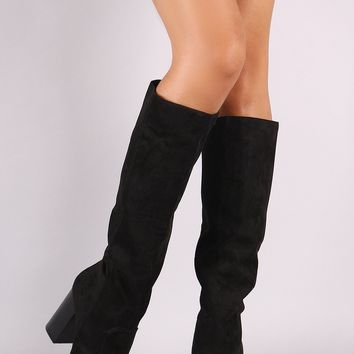 Chunky Heeled Knee High Boots For Women By Bamboo | Shop Women's Fashion Suede Almond Toe Chunky Heeled Knee High Boots Women Over The Knee Riding Boot Trendy Cuff Almond Toe Chunky Block Heel Thigh High Boots