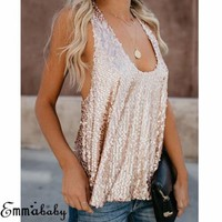 Sequin Tank Top Blouse Women's Paillette Camisole Bling Sleeveless Vest Tops Sexy Sequined Halter Tanks Loose Backless C