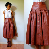 Vtg High Waist Leather Button Down Brown Full Skirt w Pockets
