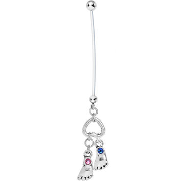 Personalized Feet Pregnancy Belly Ring Created with Swarovski Crystals