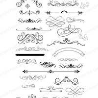 SVG File Digital Design Files used for Vinyl cutting and Silhouette Cameo Software Scroll SVG and Flourishes