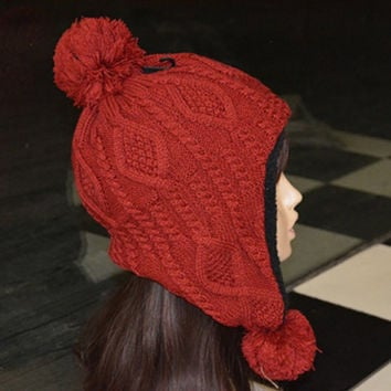 Elegant Fuzzy Balls Design Knitted Woolen Yarn Hat For Women