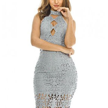 Grey Sleeveless Cut-Out Lace Crochet Midi Dress