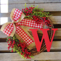 Christmas Wreath,Holiday Wreath,Monogrammed Wreath,Door Monogram, Door Hanger, Door Wreath, Monogram Wreath,Christmas Decor, Gift Idea,Decor