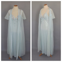 Vintage 1970s Peignoir Set Blue Lace Robe Dressing Gown Lingerie Pin up Girl Lingerie Wedding Night Bridal Nightie Long Nightgown