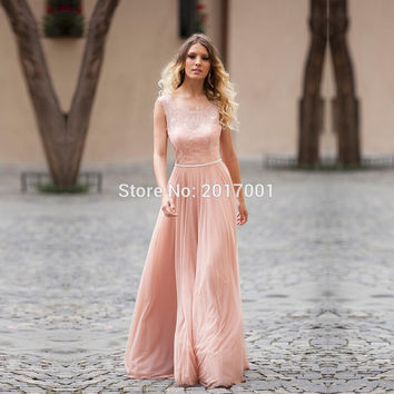 2016 New Simple Sexy Backless Peach Color Lace Evening Dresses Long Chiffon Formal Women Party Prom Dresses  Robe de Soiree