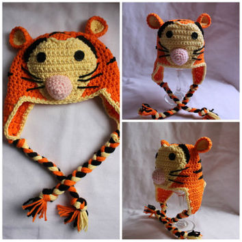 Crochet Tiger Character Beanie Hat, Photo Prop, Picture Prop, Newborn, Baby, Infant, Child, Costume