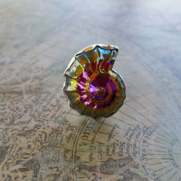 Unique OOAK One of a Kind Purple Titanium Sea Shell Statement Ring, Large Cocktail Ring