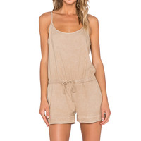 Bella Dahl Crossback Cami Romper in Natural Tan
