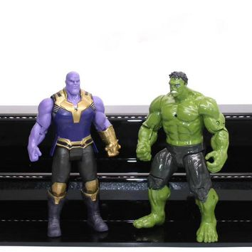 Marvel The Avengers 3 Figure Super Heroes Iron Man Hulk Thanos Flashing Light in Chest PVC Action Figures Toys Gift for Boy 17cm