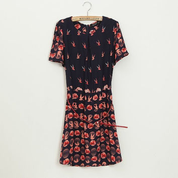 Summer Print Waistband Short Sleeve Skirt One Piece Dress [4917804740]