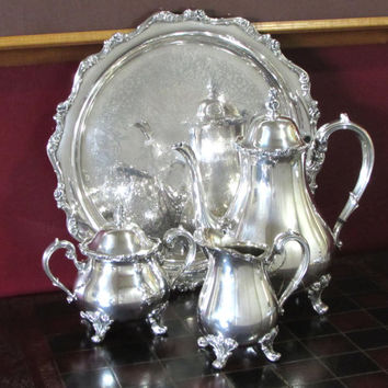 Webster Wilcox American Rose Silver Plate Coffee Service, 4 piece set, Chocolate Pot, Lidded Sugar, Creamer, Tray, International Silver Co.