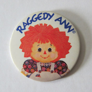"70s Raggedy Ann Large 3.5"" Pinback Button -- Mori Kei, Dolly Kei, Lolita, Grunge, Kinderwhore Pin"