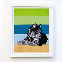 Husky Art Print Zentangle  Sibirskiy Laika Siberian by MayhemHere