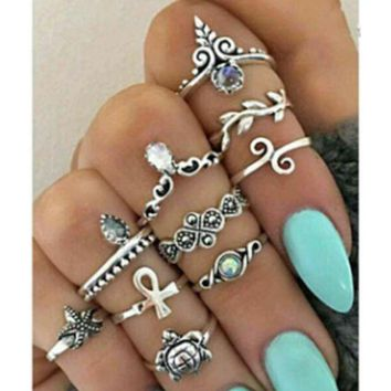 Turtle Starfish Ring Set 10 Set Crown Leaves Cross Vintage Artificial Ring