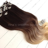 "Ombre Hair Extensions//DipDye//Dark Brown Hair and Wheat Blonde Fade//(7) Pieces//20""//Custom Your Fade"