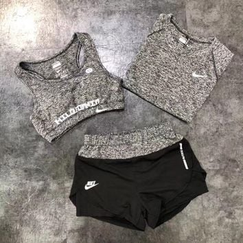 """Nike"" Women Show Thin Casual Fitness Sport Bra Vest Short Sleeve T-shirt Shorts Set Three-Piece Yoga Sportswear"