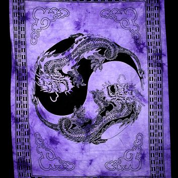 Hand printed Mini Yin & Yang Dragon Tapestries Wall Hanging