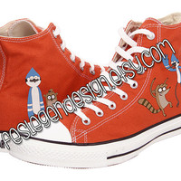 Mordecai and Rigby Custom Converse / Regular Show / Painted Shoes