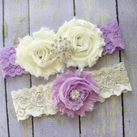 Garter Set, Lilac Garter, Purple Wedding Garter, Ivory Bridal Garter, Purple Lace Garter, Rhinestone Garter
