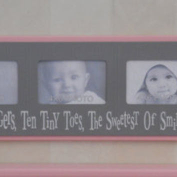 Ten Little Fingers, Ten Tiny Toes, The Sweetest Of Smiles And A Cute Little Nose - Pink and Gray Baby Girl Nursery Decor 4x6 Picture Frame