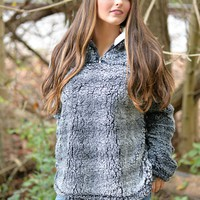 Cool Nights Charcoal Frosty Tipped Sherpa Pullover
