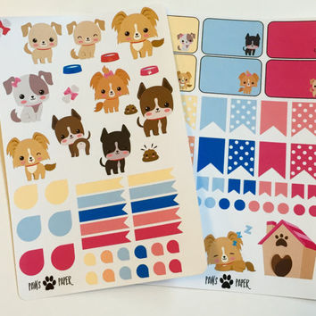 Puppies Dogs Decorative Planner Stickers  Kit Set (Perfect for Erin Condren) CUTE!