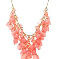 Beaded Statement Bib Necklace by Charlotte Russe - Coral