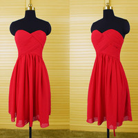 Simple sweetheart  red short chiffon bridesmaid dress,corset back homecoming dress,new arrival strapless prom dress,chiffon women dressDP039