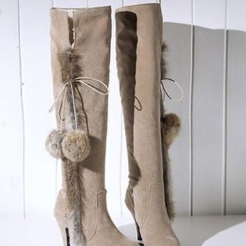 New Beige Round Toe Stiletto Faux Fur Patchwork Casual Over-The-Knee Boots