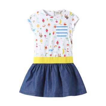 2-7T Baby girls summer dresses cute hot children clothes all print knitted short-sleeved girl frocks kids casual wear little