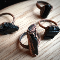 Black Tourmaline Ring  | Raw Tourmaline Ring  | Electroformed  Rough Tourmaline Ring | Crystal Ring