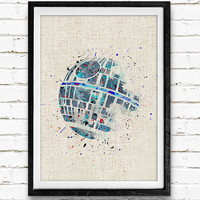 Star Wars Poster, Death Star Watercolor Art Print, Kids Bedoom Decor, Minimalist Home Decor, Not Framed, Buy 2 Get 1 Free!