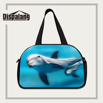 Dispalang New Fashionable Women's Luggage Travel Bags Dolphin Prints Portable Organizer Travel Necessary Bag Shoulder Duffle Bag