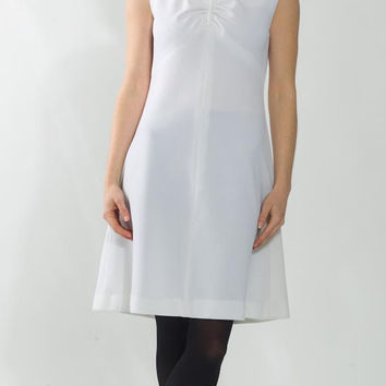 1960's White Dress - Vintage 1970's Shift Mod Space Age Mad Men Preppy Garden Formal Twiggy Sleeveless Stretchy Summer Day Dress Size M