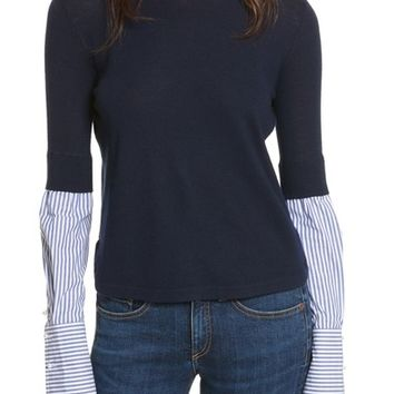 Veronica Beard Roscoe Mixed Media Sweater | Nordstrom