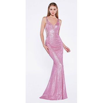 CLEARANCE - Sequins Beaded V-Back Floor Length Prom Dress Powder Pink (Size 6)