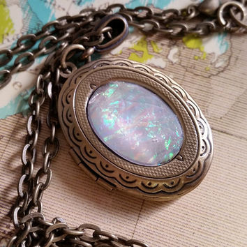White Opal Necklace, Fire Opal Jewelry, Brass Oval Locket